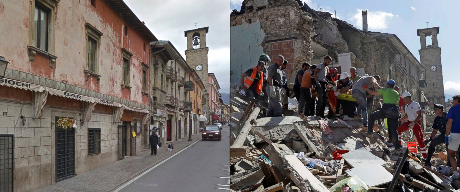 earthquake image before after